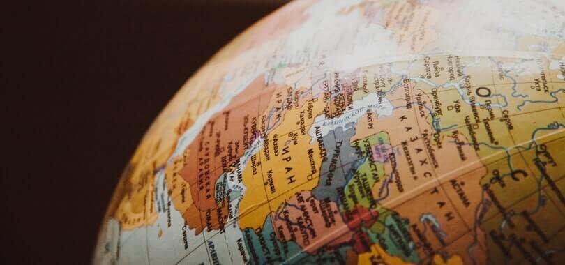 Close-up shot of a globe.