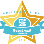 """College Raptor Rankings star badge that says """"Top 25 Best Small Colleges 2017""""."""