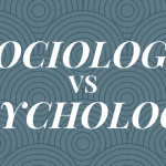 "A blue-gray background with text overlayed that says ""sociology vs psychology."""