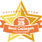 """College Raptor Rankings star badge that says """"Top 25 Best Colleges in the Southwest 2017""""."""