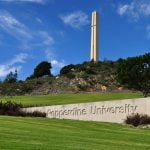 Pepperdine University entrance with tower in the background.