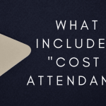 "A tan and pink price tag with text next to it that says ""what is included in cost of attendance?"""