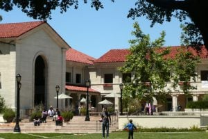 Students enjoying sunny day on the Pomona College campus.