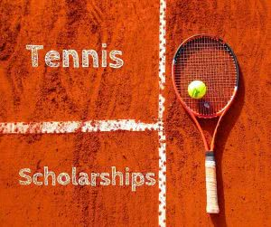 Tennis racket with text: tennis scholarships