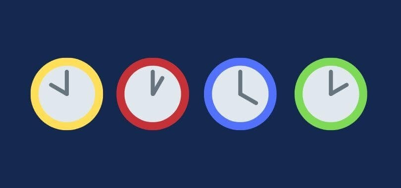 Four different colored clock icons on a navy background.