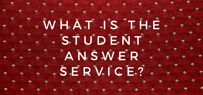 """A burgundy background with text overlayed that says """"what is the student answer service?"""""""