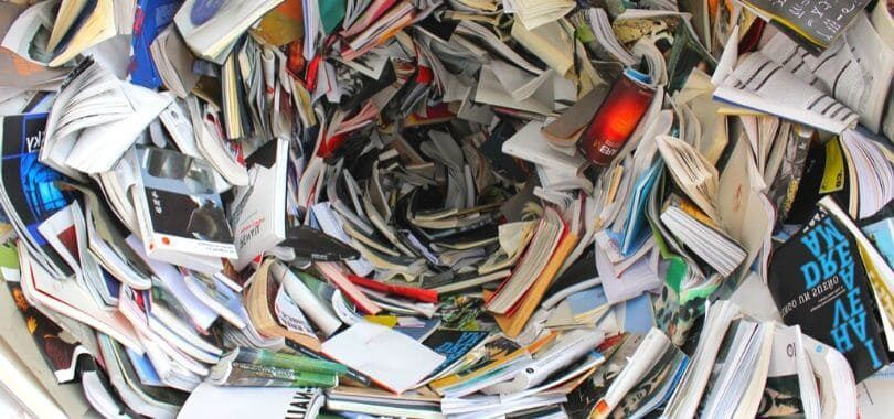 Books and magazines swirling around each other.