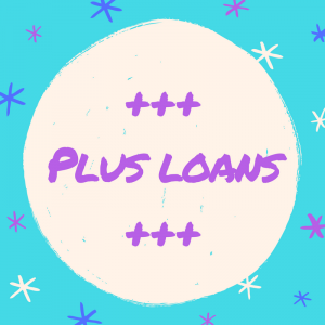 "Overlay text ""Plus Loans"" against sky blue background with blue and violet stars."
