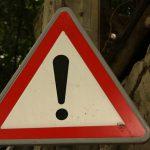 Hazard warning sign close up.