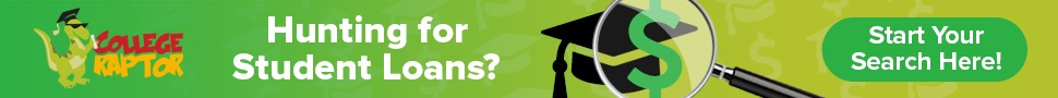 Banner ads with overlay text Hunting for student loans.