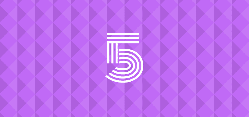 "A purple background with ""5"" overlayed."