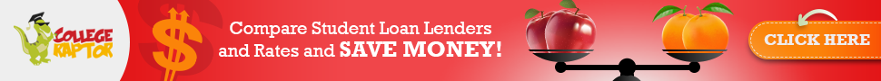 Banner ads with overlay text Compare student loan lenders and rates and save money.