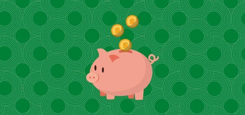 A piggy bank against a green background.
