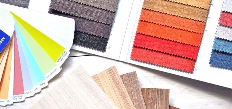 Colorful swatches of flooring, paint, and fabric.