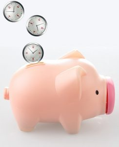 Three clocks dropping to a piggy bank represents saving time.