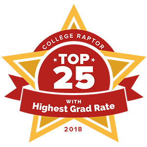 "College Raptor Rankings star badge that says ""Top 25 with Highest Grad Rate 2018""."