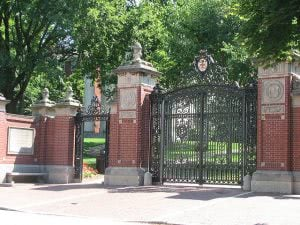 Front gates of Brown University in Providence, Rhode Island.