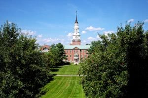 Miller Library viewed from Lorimer Chapel in Colby College.