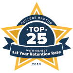 "A gold star badge that says ""College Raptor Top 25 with Highest 1st Year Retention Rate 2018."""
