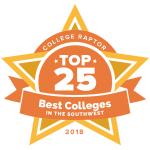 "College Raptor Rankings star badge that says ""Top 25 Best Colleges in the Southwest 2018""."