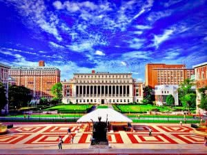 College Walk and Butler library at the Morningside campus of Columbia University.