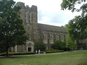 Perkins Library building at Duke University campus.