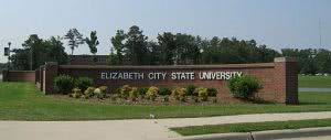 College sign at one of the entrances to ECSU.