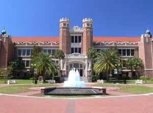 In front of a Florida State University campus building with the fountain in the foreground.