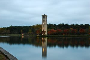 Furman University Bell Tower with the lake in the foreground.