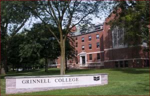 Grinnell College campus entrance in summer.