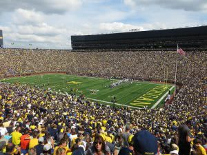 A huge crowd in University of Michigan football stadium.