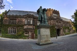 A statue in front of East Pyne Hall at Princeton University.