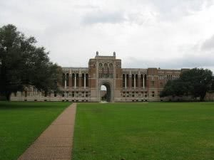 Sidewalk leading to Lovett Hall at Rice University.