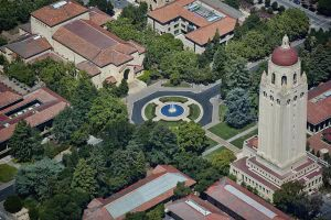 The view above Hoover tower at Stanford University.