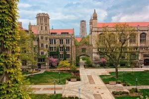 University of Chicago campus quad in early spring.