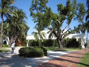 2 students walking around the University of Miami campus.