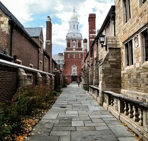 Yale University architectural alley inside campus.