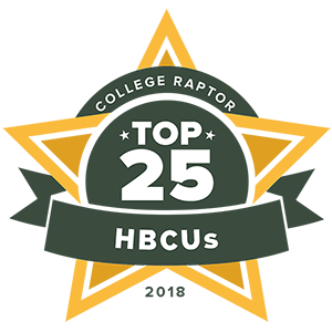 "College Raptor Rankings star badge that says ""Top 25 HBCUs 2018""."