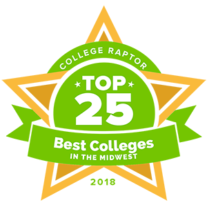 "College Raptor Rankings star badge that says ""Top 25 Best Colleges in the Midwest 2018""."