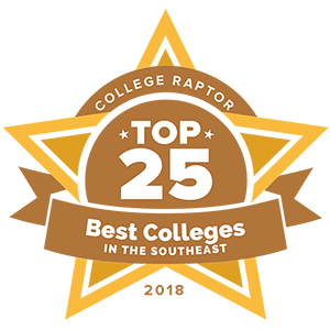 "A gold star badge that says ""College Raptor Top 25 Best Colleges in the Southeast 2018."""