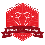 "College Raptor diamond badge that says ""Hidden Northeast Gem 2018""."