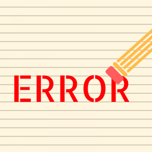 """""""Error"""" graphic word on a lined paper background."""