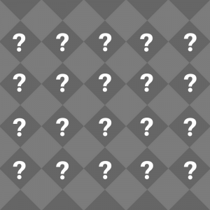 Collage of question marks on grey background.