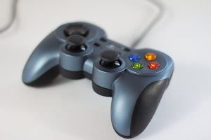 Closeup of a game controller.