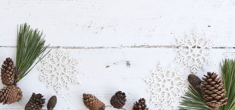 Pine cones and snowflakes on a wooden counter.