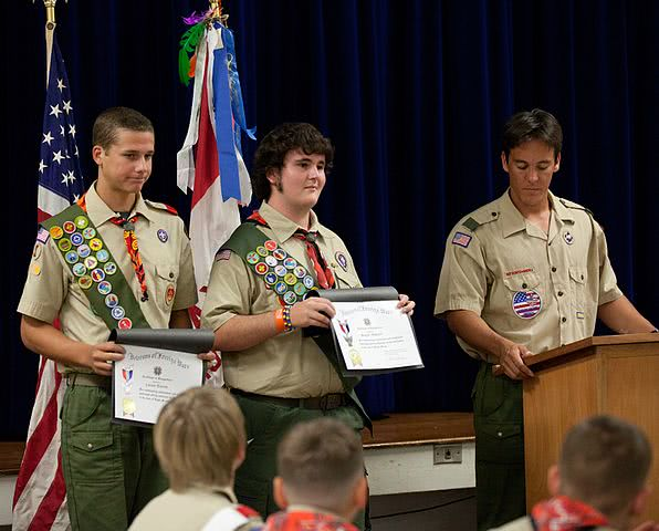 Boy scouts on the states receiving their awards.