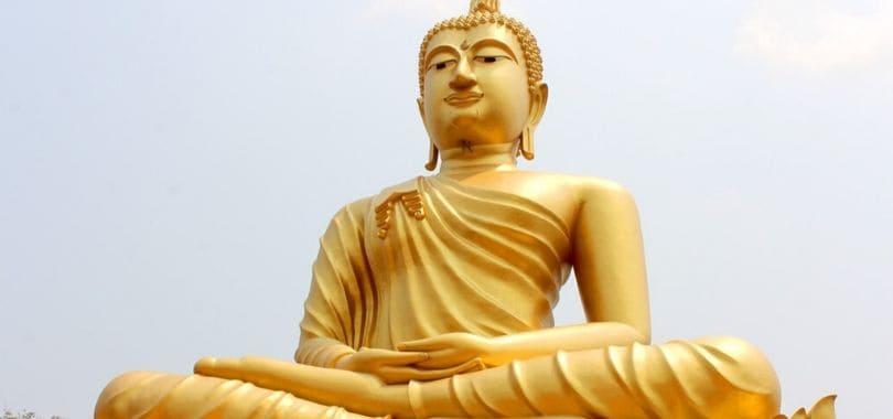 A golden statue of Buddha.