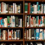 Bookshelves filled with books.