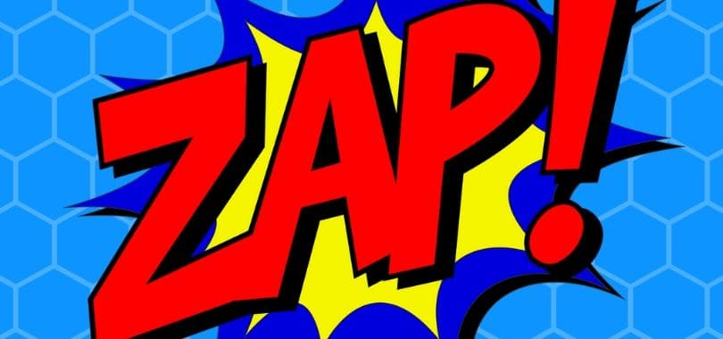 "A red ""zap"" with blue and yellow highlights."