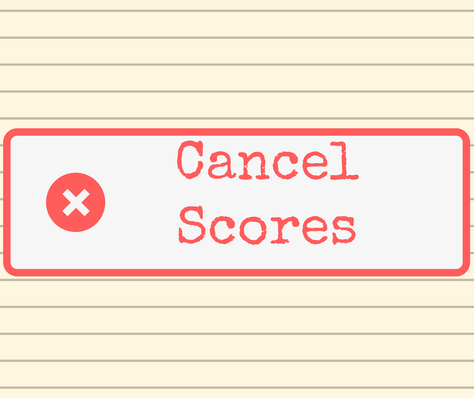 """Cancel Scores"" stamp graphic on a lined paper background."